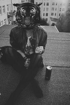 animal head grunge hipster vintage indie polaroid style
