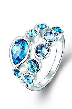 MICALLA Blue Silver Swarovski Cluster Ring - Beyond the Rack