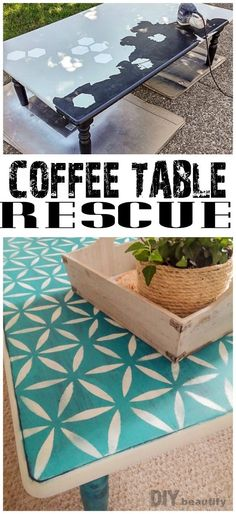 Stenciled Coffee Table Before & After