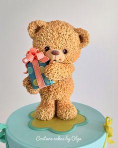 Fluffy teddy bear Teddy bear is so popular decor for birthday cakes, especially for bd Fondant Teddy Bear, Teddy Bear Cakes, Teddy Bear Toys, Cute Teddy Bears, Polymer Clay Animals, Cute Polymer Clay, Polymer Clay Crafts, Fluffy Teddy Bear, Clay Bear