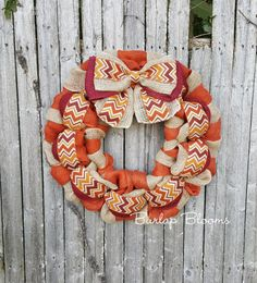 Orange Fall Wreath Chevron Autumn Wreath Burlap by BurlapBlooms
