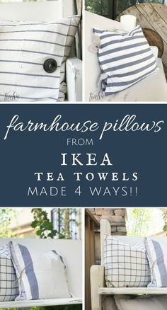 The ultimate guide to farmhouse pillows. Make these IKEA tea towel farmhouse pillows 4 different ways! Can you believe it? The best collection I have seen!