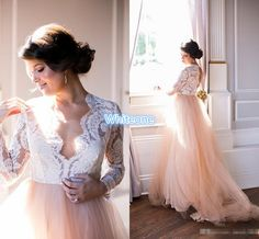 Summer 2016 Long Sleeves Wedding Dresses Lace Top Blush Chapel Train Tulle Open Back Bohemia Western Wedding Bridal Gowns Plus Size Cheap Discount Wedding Dresses Online Dresses From Whiteone, $136.13  Dhgate.Com