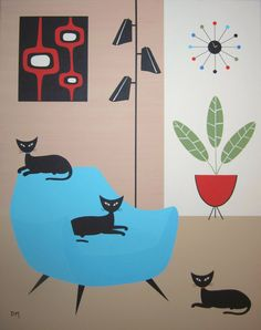 Mid-Century Modern wall art - retro cat