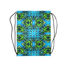 Blue and Green Stained Glass Medium Drawstring Bag by Khoncepts