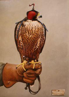 peregrine falcon oil on panel size: 38 x 50 cm