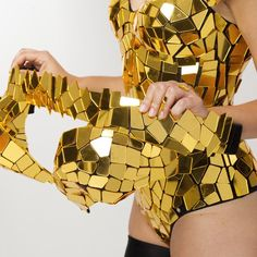 Gold sequin disco ball mirror dress costume / short gold glitter sequin prom corset bodysuit for evening party - by ETERESHOP Prom Bodysuit, Glitter Bodysuit, Bodysuit Costume, Costume Dress, Birthday Fashion, Dressing Mirror, Festival Dress, Disco Ball, Diy Clothing