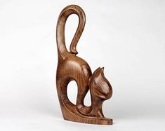 Carved Wood Cat Figurine Minimalistic Sculpture Table Centerpiece Interior Accent Display Art Wood Statue 5th Anniversary Wedding Gift
