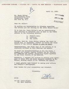Letter from Girard to Henry Miller, 1958
