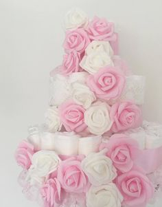Pink floral nappycake, perfect for a girls baby shower   @howperfect_