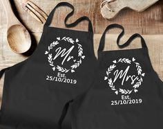 Custom Mr and Mrs black aprons set. His and her set, with custom wedding date. Newly weds, Husband and wife by SoulGoldTees on Etsy Black Apron, Daddy And Son, New Baby Announcements, First Fathers Day, White T, Custom Items, Newlyweds, Husband, Aprons