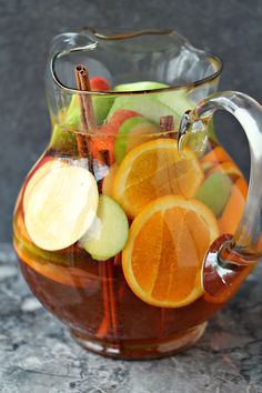 Easy Apple Sangria from cravingsofalunati.- Easy apple sangria you'll make time and time again! This recipe pops with fresh fruit and bright flavours! Whip up a batch, or two, today! ( of a Lunatic) Fruit Drinks, Yummy Drinks, Healthy Drinks, Beverages, Best Apple Recipes, Fall Recipes, Apple Sangria, Sangria Drink, Sangria Cocktail