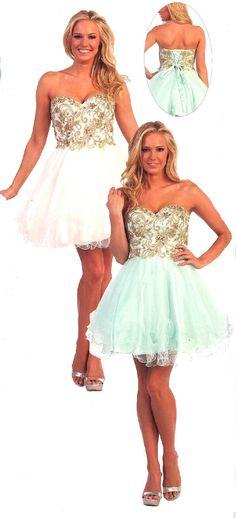 Prom Dresses<BR>Sweet 16 Dresses<BR>Quinceanera Dresses under $130<BR>8877<BR>Strapless corset short dress featuring gold embellishments.