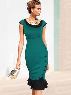 Ladylike Party Round Neck Short Sleeve Bodycon-dress | fashionmia.com - LOVE the bottom of this dress, but prefer longer sleeves for my taste ♥