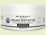 Body Butter 6 Pack by Mercola. $119.82. Treats dry or mature skin. Provides smooth spread ability. Penetrates with little greasiness. Inhibits lipid peroxidation (oxidizing to the utmost degree, resulting in formation of a peroxide). Promotes collagen formation. Organic Body Butter is a rich, buttery moisturizing cream. Pamper yourself -- pamper your skin. You will look great -- and feel great. And have the peace of mind that comes from knowing you're softening ...