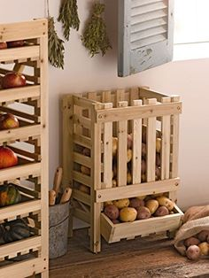 Wooden Potato Apple Onions Storage Bin, Root Cellar Storage Gardener's Supply http://www.amazon.com/dp/B00N358HDQ/ref=cm_sw_r_pi_dp_fLWIub1B565BT