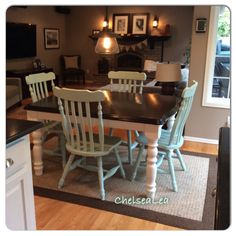 Java Gel stain top, white cabinet paint and Valspare Mirage chairs. Finished my kitchen table refresh!