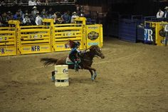 Fallon Taylor & BabyFlo barrel racing in Round 4 of the NFR—while wearing a helmet! #wearahelmet #helmettough