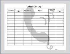telephone log template