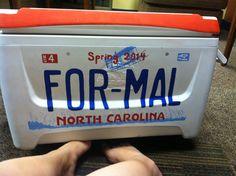 Spring formal North Carolina license plate cooler