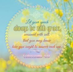 Colossians 4:6  Let your speech always be with grace, seasoned with salt, that ye may know how ye ought to answer every man.