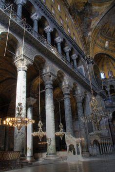 Columns & chandeliers, Hagia, Sophia