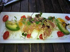 B.C. Albacore tuna tataki Asian pear, avocado, daikon, tomato & watermelon with yuzu, ginger & wasabi dressing  @ Oliver and Bonnacini 33 Yonge St, Toronto