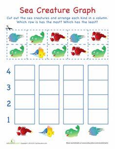 Kindergarten Math Worksheets: Cut-Out Graph: Sea Creatures Cutting Activities, Preschool Science Activities, Ocean Activities, Kindergarten Math Worksheets, Preschool Letters, Maths, Learning Activities, Sea Creatures Crafts, Sea Animal Crafts