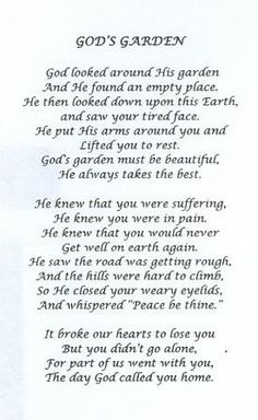 Poem I read at my grandmas funeral!simply beautiful