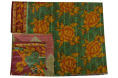 Indian Bohemian Vintage Kantha Quilt Sari Throw, Kantha Blanket, Reversible Antique Quilt Handmade Vintage Throw Blanket Bohemian Quilt