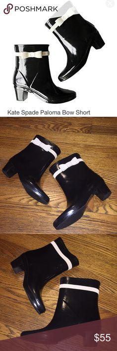 KATE SPADE PALOMA BOW RAINBOOT Fashionable KATE SPADE waterproof rain boots VERY COMFY. Some love visible (pointed out in the photos + on the tread). Great day-to-night shoe for those rainy days. kate spade Shoes Winter & Rain Boots