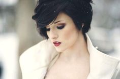 Dark and moody. Love the soft styling of this pixie cut. #hair #brunette