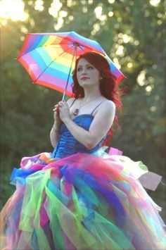 Adult Women's/Junior's Long Punky Formal Fluffy Neon Rainbow Tutu Skirt