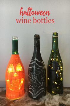 Turn Wine Bottles into Spooky Halloween Decor Halloween Wine Bottles, Wine Bottle Crafts, Spooky Halloween Decorations, Halloween Crafts, Halloween Party, Halloween Sweets, Halloween Cocktails, Halloween 2014, Halloween Ideas