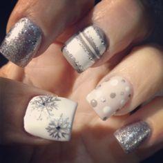 Winter nails. Minus the polka dots.