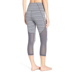 Women's Zella 'Live In-Sultry' High Waist Mesh Crop Leggings ($56) ❤ liked on Polyvore featuring activewear, activewear pants, grey graphite mirage, zella activewear, zella and zella sportswear
