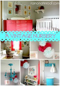 A great alternative to a character themed nursery! Full of fun colors with a sweet vintage vibe! A Vintage Nursery via RainonaTinRoof.com