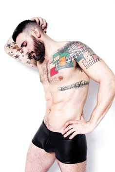 bearded men, tattooed men, shirtless, rubber (?) underpants, hot men, alternative, kin, fetish