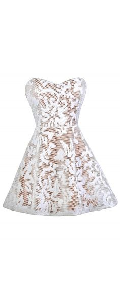 Lily Boutique Honeycomb Textured Mesh Dress in White/Beige, $60