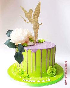 50 Most Beautiful looking Tinker Bell Cake Design that you can make or get it made on the coming birthday. Fairy Birthday Themes, Fairy Birthday Cake, Baby Girl Birthday Theme, 1 Year Birthday Party Ideas, Tinkerbell Cake Topper, Tinkerbell Birthday Cakes, Tinkerbell Party, Bolo Tinker Bell, Edible Flowers Cake
