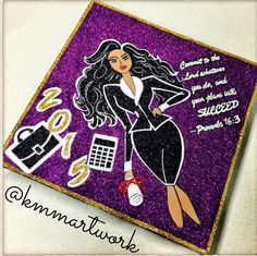 Graduation Cap designed by KMM Artwork - Business Woman - Glitter Art