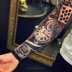 Clock Money Rose Card Sleeve Tattoo - Best Sleeve Tattoos For Men: Cool Full Sle.Clock Money Rose Card Sleeve Tattoo - Best Sleeve Tattoos For Men: Cool Full Sleeve Tattoo Ideas and Designs
