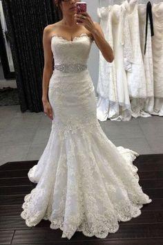 White lace sweetheart sequins mermaid floor length prom dress,Wedding Dresses