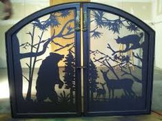 Custom #fireplace screen will make your home or #cabin look amazing. Any size or style you would like, designed with scenery or animals or pets of your choice by our professional nature artist.  See more ideas at www.NatureRails.com