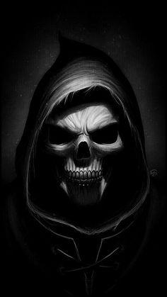 Ideas Wallpaper Dark Skull Grim Reaper For 2019 Small Skull Tattoo, Evil Skull Tattoo, Skull Tattoo Flowers, Dark Art Tattoo, Skeleton Tattoos, Skeleton Art, Skull Tattoo Design, Skull Tattoos, Sleeve Tattoos