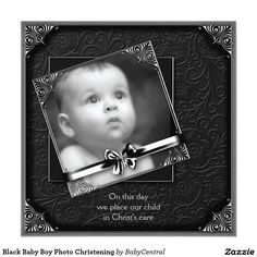 Black Baby Boy Photo Christening 5.25x5.25 Square Paper Invitation Card