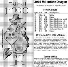 Biscornu Free Charts | Dragon's dream 2003 Valentine dragon