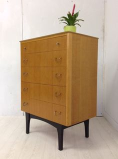 VINTAGE RETRO MID CENTURY LIGHT OAK WOODEN CHEST OF DRAWERS DANISH style 1960s in Home, Furniture & DIY,Furniture,Chests of Drawers | eBay