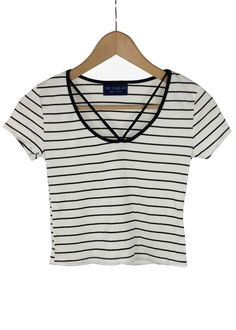melanie striped crop top (white)