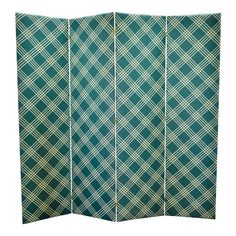 Gorgeous kelly green plaid and solid fabric screen. There are reversible panels with the brass -colored butterfly hinges for easy folds. Narrow Living Room, Chic Living Room, Living Rooms, Plaid Fabric, Green Fabric, Room Divider Curtain, Room Dividers, Creating An Entryway